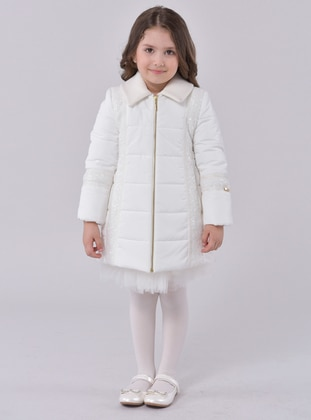 Point Collar -  - Unlined - Ecru - Girls` Dress