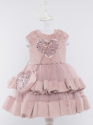 Crew neck -  - Fully Lined - Dusty Rose - Girls` Dress