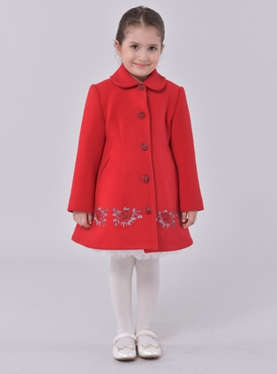 Point Collar -  - Unlined - Red - Girls` Dress