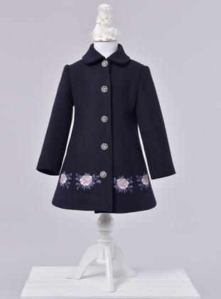 Point Collar -  - Unlined - Navy Blue - Girls` Dress