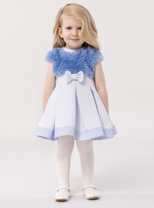 Point Collar -  - Unlined - Blue - Girls` Dress
