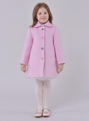 Point Collar -  - Unlined - Pink - Girls` Dress - Pamina