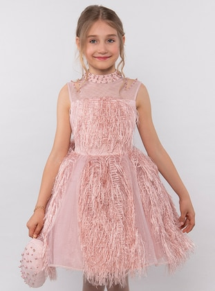 Crew neck -  - Fully Lined - Powder - Girls` Dress - Pamina