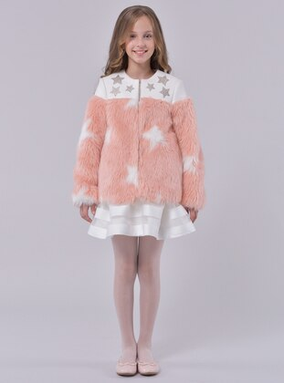 Point Collar -  - Unlined - Salmon - Girls` Dress