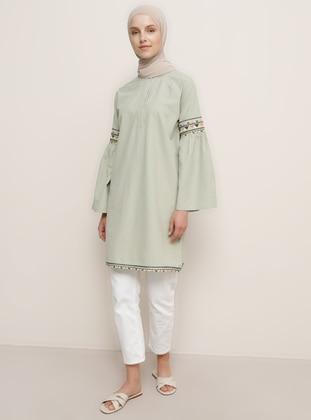 Green Almond - Green - Button Collar - Cotton - Tunic