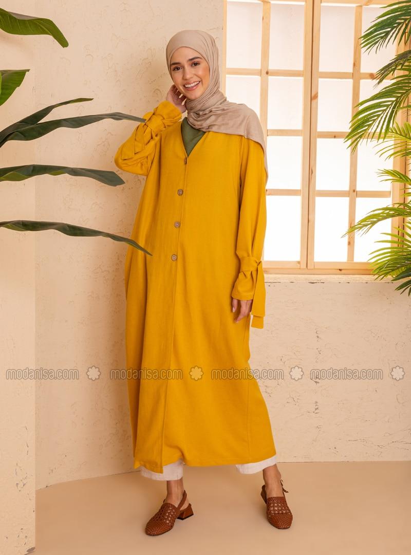 Yellow - Unlined - V neck Collar - - Viscose - Topcoat