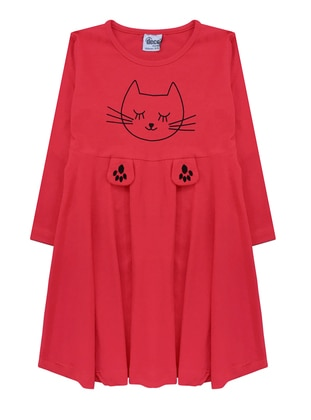 Multi - Crew neck -  - Red - Girls` Dress
