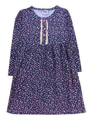 Multi - Crew neck -  - Navy Blue - Girls` Dress