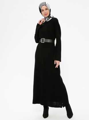 Black - Polo neck - Unlined - Acrylic -  - Dress