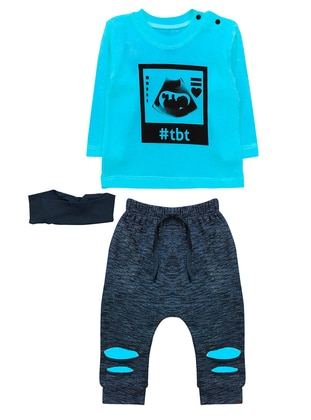 Crew neck -  - Unlined - Blue - Baby Suit - BY LEYAL