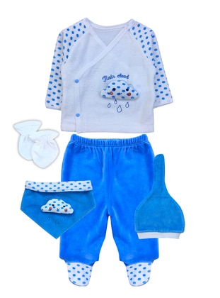V neck Collar -  - Unlined - Blue - Baby Suit