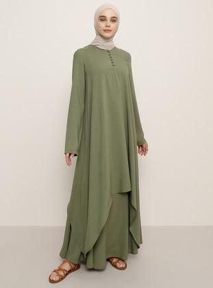Green - Unlined - Viscose - Suit - Benin