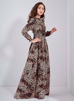 Brown - Leopard - Crew neck - Fully Lined - Dress