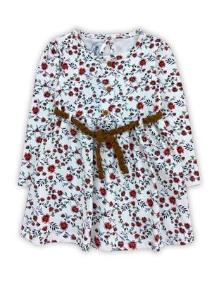 Multi - Crew neck -  - White - Baby Dress