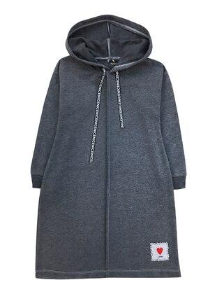Multi - Crew neck -  - Gray - Girls` Sweatshirt