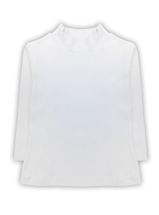 Polo neck - Unlined - White - Ecru - Girls` T-Shirt