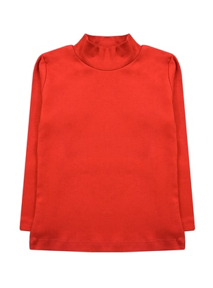 Polo neck - Unlined - Red - Girls` T-Shirt