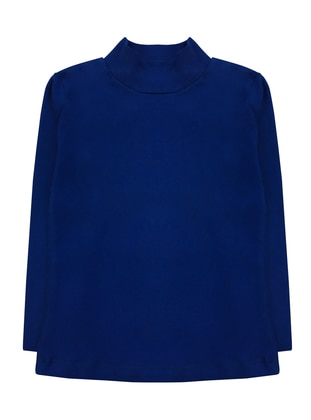 Polo neck - Unlined - Navy Blue - Girls` T-Shirt