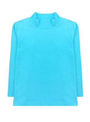Polo neck - Unlined - Blue - Girls` T-Shirt