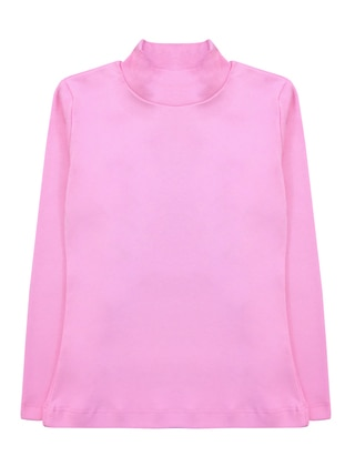 Polo neck - Unlined - Pink - Girls` T-Shirt