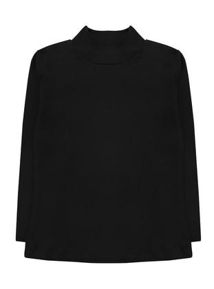 Polo neck - Unlined - Black - Girls` T-Shirt