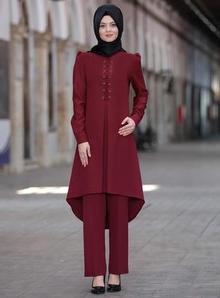 Maroon - Unlined - Crepe - Suit