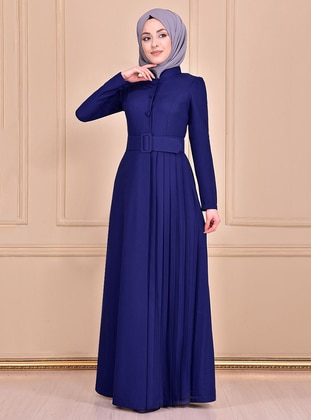 Indigo - Unlined - Crew neck - Abaya
