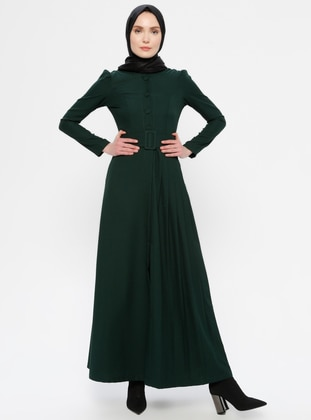 Green - Emerald - Evening Abaya - AYŞE MELEK TASARIM