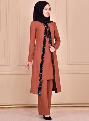Unlined - Tan - Crew neck - Evening Suit - AYŞE MELEK TASARIM