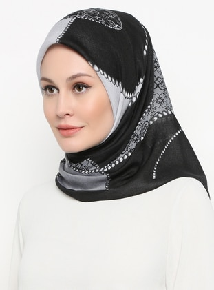 Black - Printed - Scarf