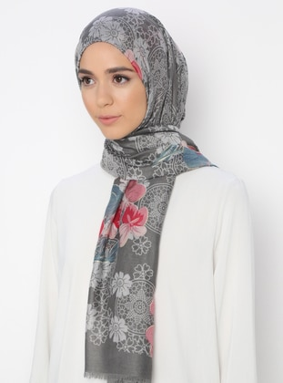 Gray - Multi - Printed - Shawl