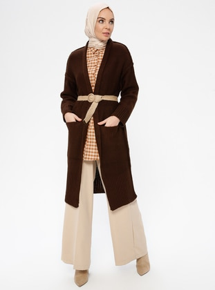 Brown - Shawl Collar -  - Cardigan