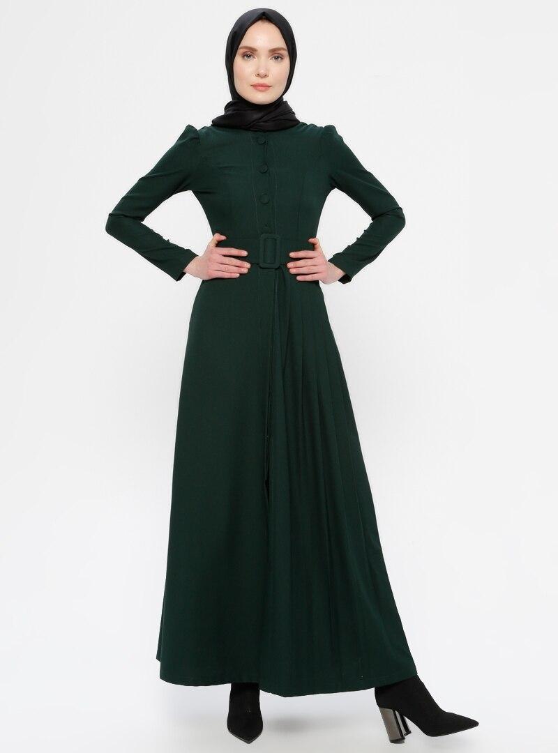 Tesettür Abiye Ferace AYŞE MELEK TASARIM Yeşil Zümrüt Yeşili Kadın 44
