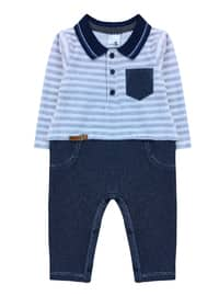 Point Collar -  - Unlined - Navy Blue - Baby Suit