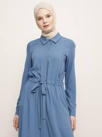 Mavi yakalı - Fransız yakalı - Astarsız kumaş - Viskon - Elbise