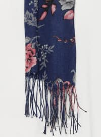 Navy Blue - Floral - Shawl