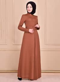 Tan - Unlined - Crew neck - Abaya