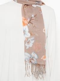 Beige - Floral - Shawl