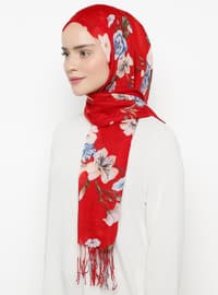 Red - Floral - Shawl