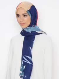 Multi - Navy Blue - Printed - Shawl
