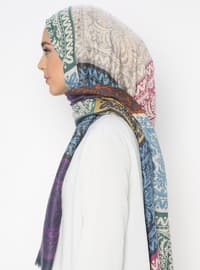 Multi - Blue - Printed - Shawl