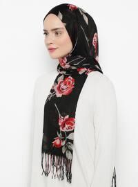Black - Floral - Shawl