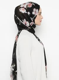 Black - Floral - Shawl