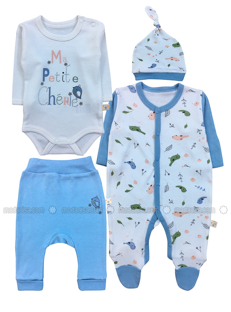 Multi - Crew neck -  - Blue - Baby Suit