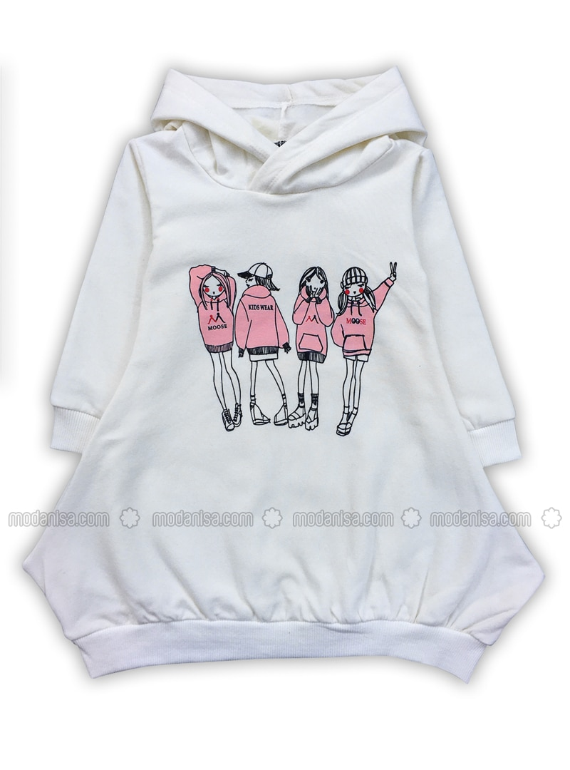Multi - Crew neck -  - White - Girls` Sweatshirt