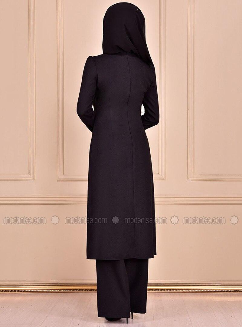 Ohne Innenfutter - Schwarz - Rundhalsausschnitt - Zweiteilige Abendkleider