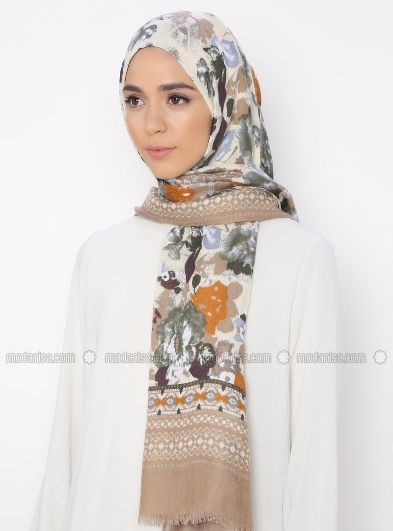 Beige - Multi - Printed - Shawl