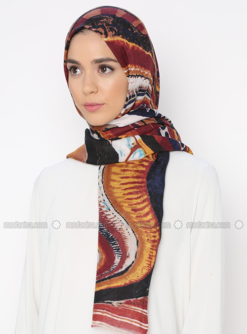 Multi - Tan - Printed - Shawl