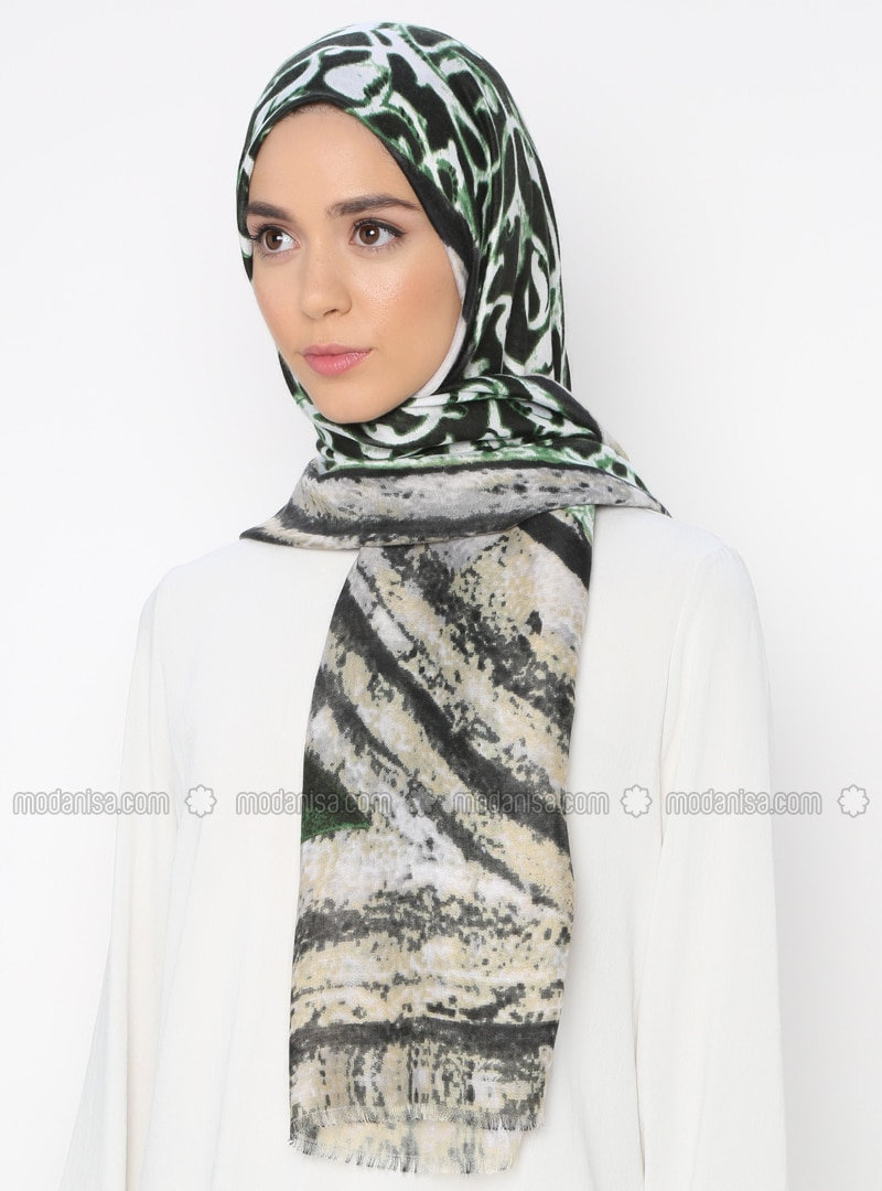 Multi - Green - Printed - Shawl
