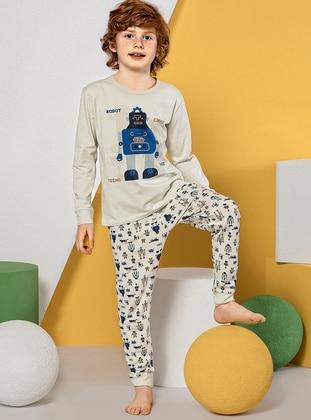 Multi - Crew neck -  - Cream - Boys` Pyjamas